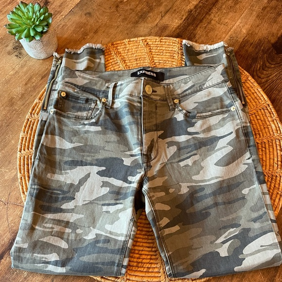 {Express} Camo Denim Mid Rise Skinny Jeans